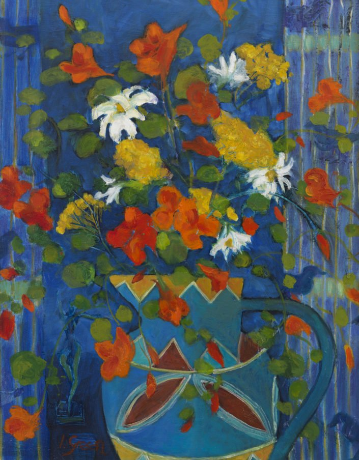 Summer garden bouquet - Oil on canvas 49 x 39 cms