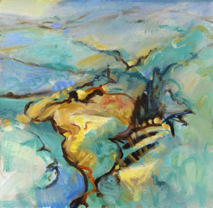 The valley below - Oil on board 41 x 41 cms