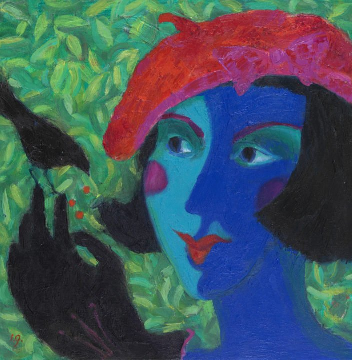 Brigitte and the black bird - Oil on canvas 30 x 30 cms Bella Green