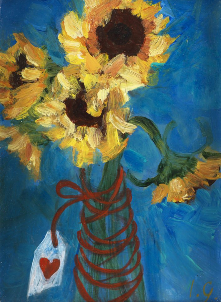 Sunflowers with love - Oil and canvas 14 x 11 cms