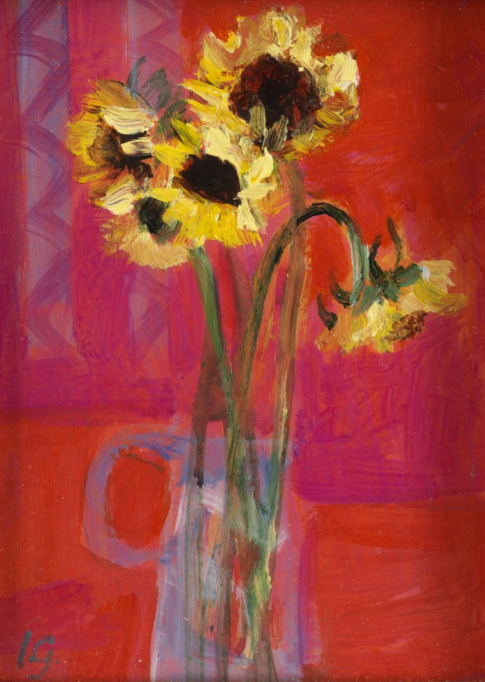 Little sunflowers on pink - Oil on canvas 14 x 11 cms