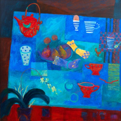 Teatime midwinter - Oil on canvas 76 x 76 cms