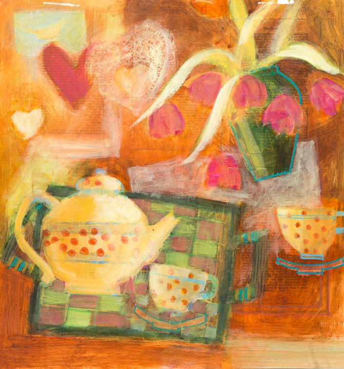 Teatime with hearts - Acrylic and collage on paper 48 x 48cm