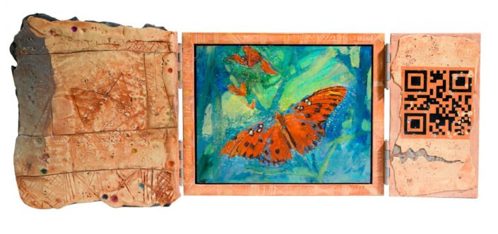 Butterfly - Polymer clay and acrylic 34 x 34 cms closed 34 x 75cms open